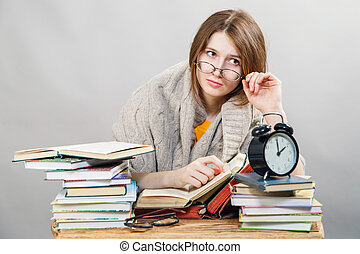 女子学生, ∥で∥, ガラス, 読書, 本