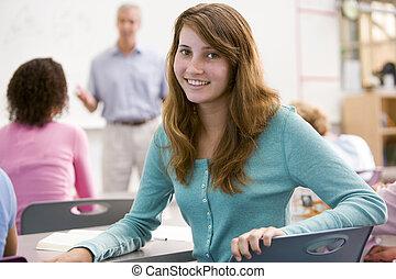 女子学生, ∥で∥, 他, 生徒, 中に, 教室