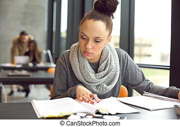 女子学生, 勉強, 中に, a, 図書館
