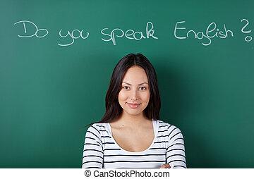 女子学生, 勉強, 英語