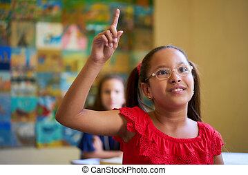 女子学生, 手の 上昇, の間, テスト, クラスで, ∥において∥, 学校