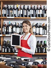 女子販売員, タブレット, 提示, ブランク, デジタル, 微笑