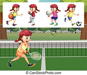 女孩, 不同, 運動