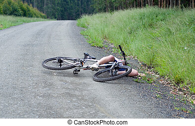 女孩, 伤害, 撞毁, bicyclist, 事故