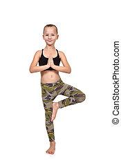 女孩, 做, 瑜伽, 鍛煉