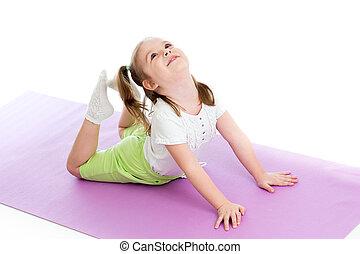 女孩, 做, 體操