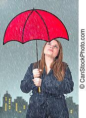 女孩, 傘, 紅色