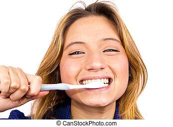 女孩, 刷子, 牙齒
