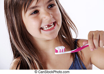 女孩, 刷牙齒
