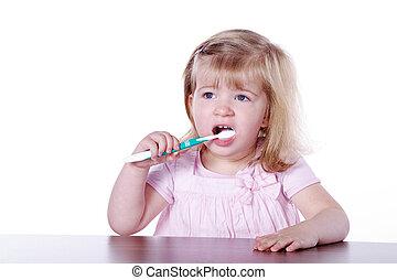 女孩, 刷, 他的, 牙齒