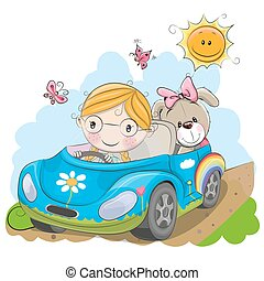 女孩, 去, 在上, the, 汽车