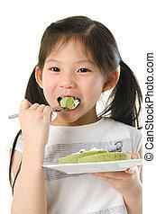 女孩, 吃, 亞洲人