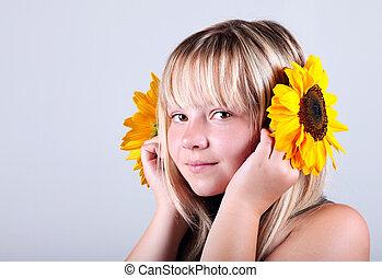 女孩, 向日葵