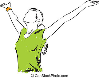 女孩, 呼吸, 自由, 插圖