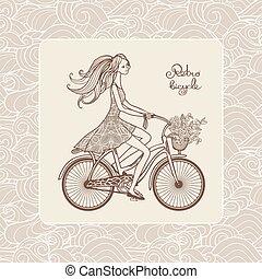 女孩, 在上, 自行车