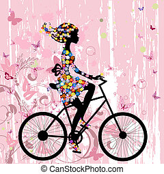女孩, 在上, 自行车, grunge, 浪漫