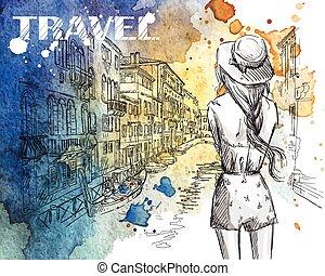 女孩, 在上, a, 威尼斯, 运河, 背景。