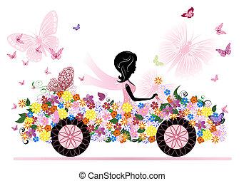 女孩, 在上, a, 浪漫, 花, 汽车