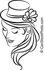 女孩, 在中, 帽子, 同时,, 花