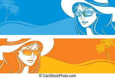女孩, 在中, a, 帽子, 同时,, 太阳镜