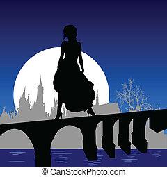 女孩, 在中, a, 衣服, 在上, the, 架桥