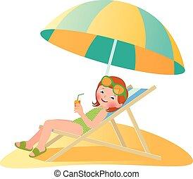 女孩, 在海滩上, 在中, a, deckchair