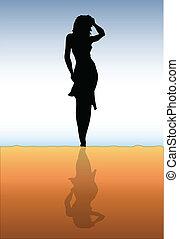 女孩, 在海滩上