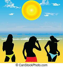 女孩, 在海灘上, 矢量, 插圖