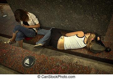 女孩, 在街道上, 在, out(special, 相片, f/x)