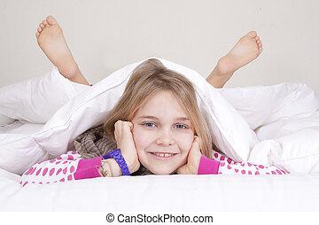 女孩, 在 床