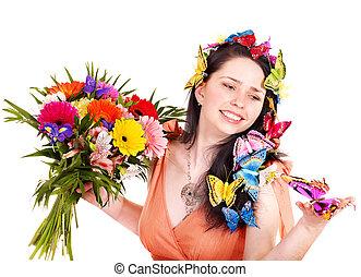女孩, 在, 春天, 發型, 由于, 花, 以及, butterfly.