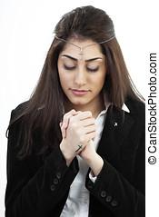 女孩, 在, 禱告