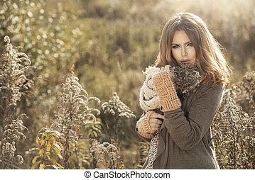 女孩, 在, 秋天, 風景
