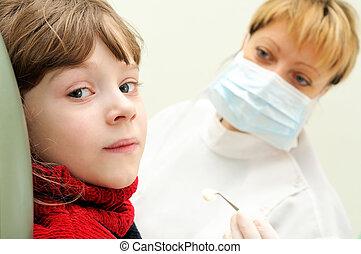 女孩, 在, a, 牙醫, 檢查