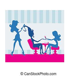 女孩, 在, a, 美容院, 修指甲, 以及, 美容師