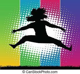 女孩, 在, the, 春天, 上, a, 被給上色背景, -, 矢量, 海報