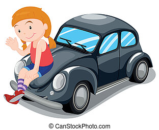 女孩, 坐, 在上, 汽车