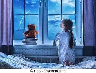 女孩, 坐, 在窗子