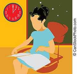 女孩, 坐, 学习, 当时, 椅子, 边观点