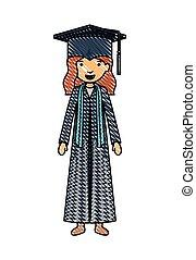 女孩, 字, 年輕, 畢業生