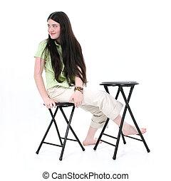 女孩, 孩子, 坐