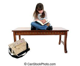 女孩, 孩子, 書, 閱讀