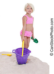 女孩, 孩子, 沙子玩具