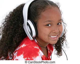 女孩, 孩子, 耳機