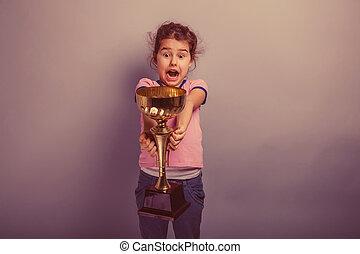 女孩, 孩子, 6, 年, ......的, 歐洲, 出現, 握住, a, 杯子
