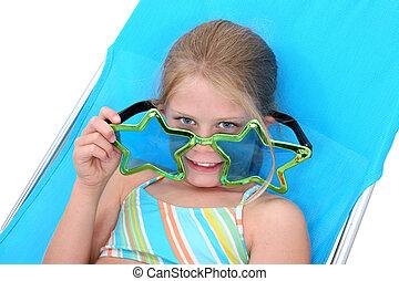 女孩, 孩子, sunglasse