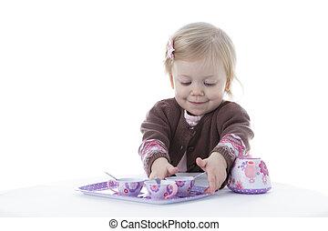 女孩, 學步的小孩, 玩