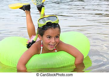 女孩, 學習, 到, 水下通气管