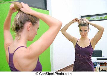 女孩, 工作室, 健身