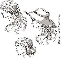 女孩, 带, 不同, hairstyles.